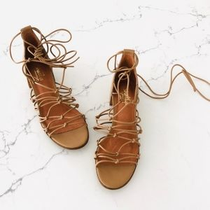 Shelly's London Lace Up Block Heel Sandals